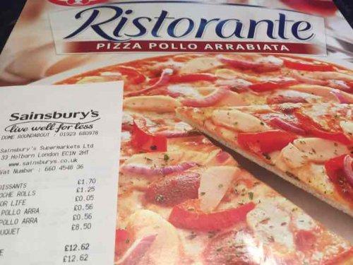 Ristorante Pizza Pollo Arrabiata (spicy chicken pizza) reduced to 56p in Sainsbury's