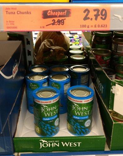 John West Tuna Chunks in Brine, 4x160g cans in Lidl - £2.79