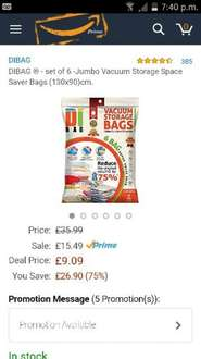 6 jumbo vacuum storage bags £9.09 (Prime) Sold by bpro® DIBAG® Official Store and Fulfilled by Amazon.