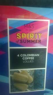 M&S spirit of summer 4 colombian coffee lollies 75p instore