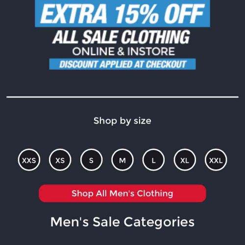 extra 15% off footasylum clothing (includes sale)