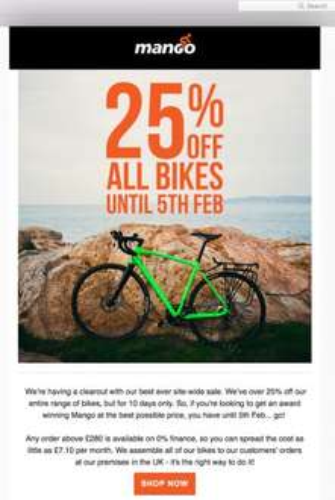 25% off every bike at Mango Bikes (single speed, road, gravel, ladies)