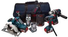Bosch BAG+ 18 V Professional Heavy Duty 5 piece Kit (includes 3 x 4.0 Ah Lithium Ion CoolPack Batteries) at Amazon for £377
