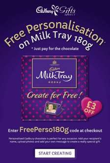 Free personalisation on cadbury milk tray, including photo. Various prices plus postage charges.