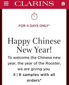 Clarins Eight free samples with every order