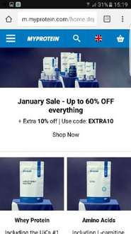 up to 60% off myprotein and additional 10% off using code