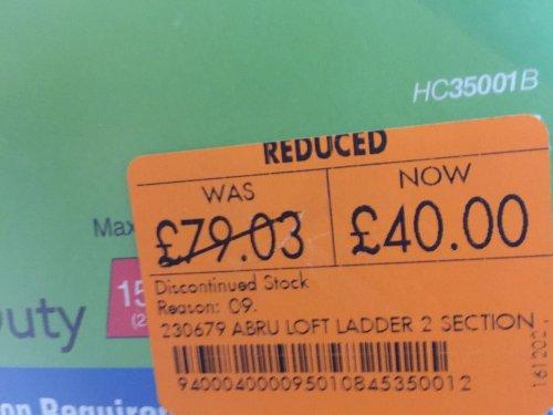 Wooden loft ladder £40 from £79. Homebase