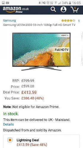 Samsung UE55K5500 55-inch 1080p Full HD Smart TV [Energy Class A+] - £413.59 @ Amazon (Lightning Deal)