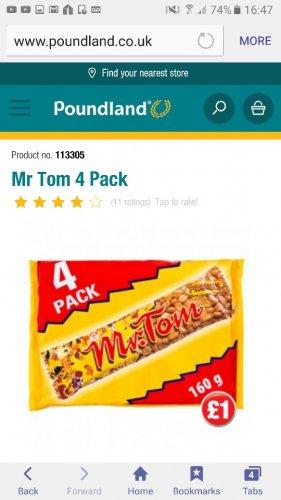 Mr tom peanut bar 4 pack just £1 @ poundland