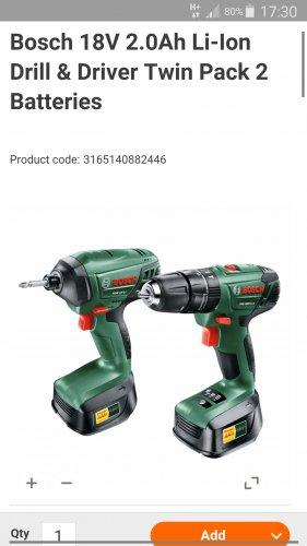 Bosch combi drill + impact driver - £100 (£80 with voucher) @ B&Q