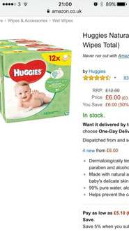 12 packets of Huggies wipes £6 (Prime) £10.75 (Non Prime) @ amazon