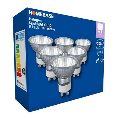 Pack of 6 GU10 40watt Lamps(dimmable)  £2.97 @ Homebase