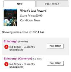 virtues last reward (PS vita) £0.99 @ GAME instore only