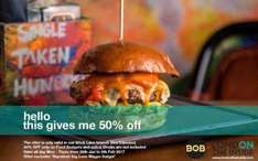 50% off burgers and side Band on burgers in brick lane London