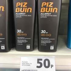 Piz Buin suntan lotion, Tesco in store 50p