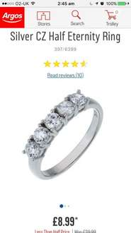 Platinum Plated Sterling Silver CZ Half Eternity Ring @ Argos £8.99