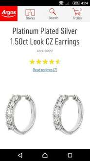 Platinum Plated Silver 1.50ct look CZ Earrings £13.99 from ARGOS