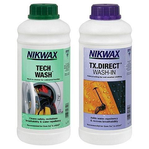 Nikwax Tech Wash & TX Direct Wash-In Waterproofing, 2 x 1 Litre