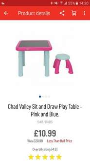 Chad valley sit and draw play table was £29.99 now £10.99 at argos