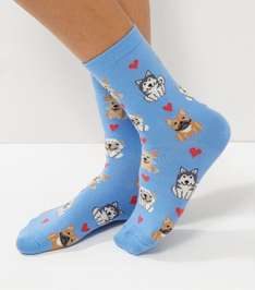 New Look Blue Dog Print Socks £1 (£3.99 del)