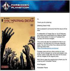 The Walking Dead comic issue 163 FREE at Forbidden Planet on 1st Feb