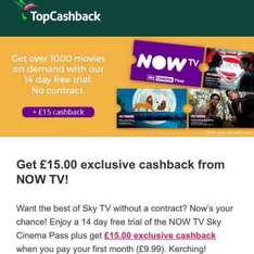NOW TV Cinema - FREE for 6 weeks AND make £5 profit £9.99 @ Topcashback