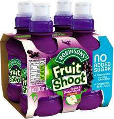 Robinsons Fruit Shoot Orange No Added Sugar (4 x 200ml) Half Price was £1.89 now 94p @ Tesco