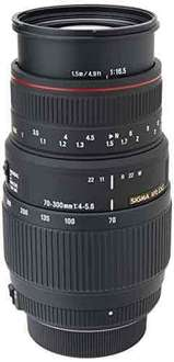 Sigma 70-300mm f4-5.6 APO DG Macro For Nikon Digital & Film Cameras - £98.89 @ Amazon