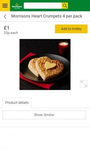 Awwwww.... Morrisons Love Heart Crumpets 4 per pack