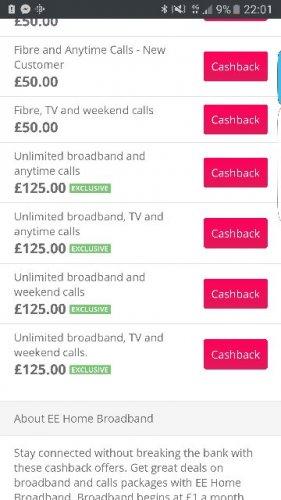 125 cash back on EE home broadband @ TCB