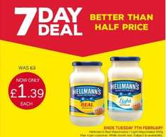 Hellmann's Real/Light Mayonnaise (600g) was £3.00 now £1.39 @ Iceland