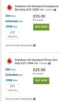 Vodafone 4G Standard Smartphone Sim Only £25 10GB 1 Months (£20 automatic cash back)@ mobiles.co.uk