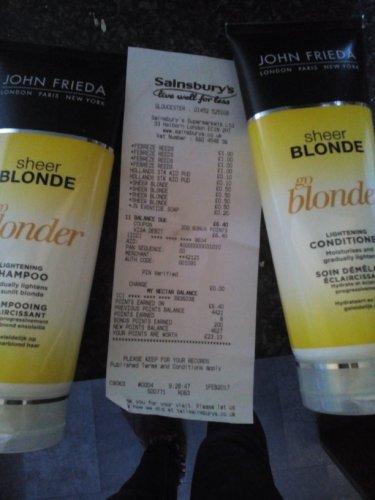 John Frieda, shampoo and conditioner. Sainsbury's 50p instore