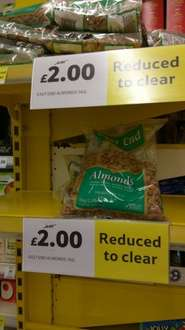Almonds 1kg price reduced to £2. Was £8 Tesco instore