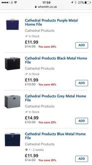 A4 Cathedral Metal File box £11.99 @ WHSmith