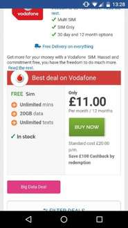 vodafone simonly unlimited calls & txts 20gb 4g data £20 p/m (£11 after CB) £240 @ Mobiles.co.uk