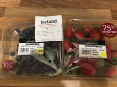 100% extra free blueberries £2.00 and 75% extra free strawberries £2.25 at Iceland.