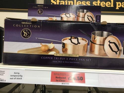 Copper Tri-Ply 3 Piece Pan set Was £115 now £34.50 @ Sainsburys