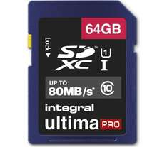 INTEGRAL UltimaPro Class 10, Up To 80MB/s SDXC Memory Card, 64GB £13.99 Reserve & Collect Or Free Delivery @ Currys