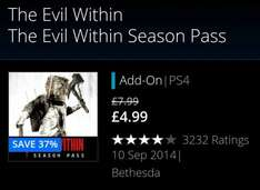Evil Within Season Pass (PS4) £4.99 @ PSStore