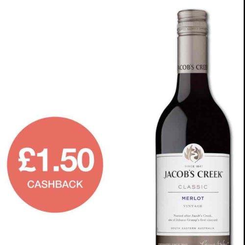 £1.50 cash back on Jacobs Creek Merlot - £3.75 @ Sainsbury's
