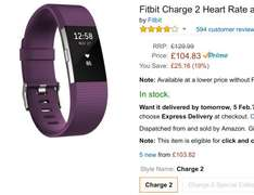 Fitbit charge 2 plum small at amazon - £104.84