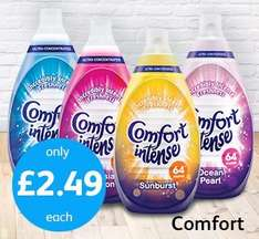 Comfort Intense Fabric Conditioner Fresh Sky - 64 Washes (960ml) ONLY £2.49 @ Poundstretcher