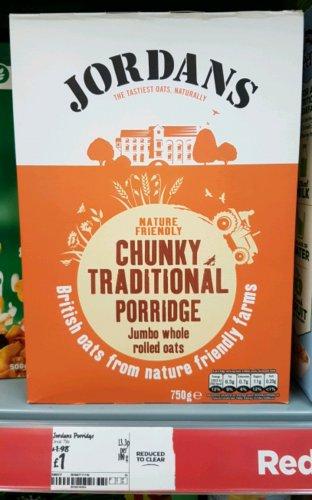 750g Jordan's Chunky Traditional Porridge Oats £1 @ ASDA