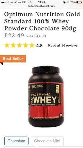 Optimum Nutrition Gold Standard 100% Whey Powder 908g - £22.49 Holland & Barrett