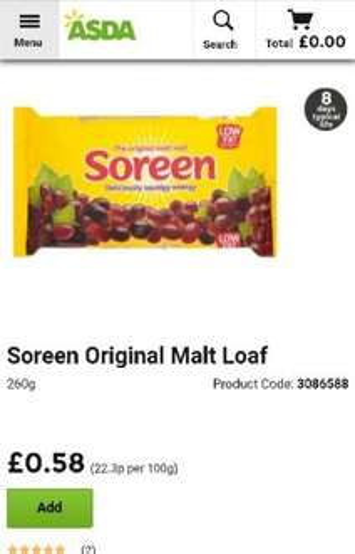 Soreen original and banana malt loaf 260g 58p each at Asda