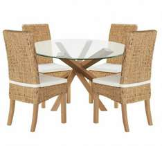 Home of Style Abbotsley Dining Table & 4 Rattan Chairs £156.94 Was £599.99 [With Code] Argos Delivered