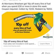 10p off a litre of fuel when you spend £30 or more in store at Wrexham and Guiseley @ Morrisons