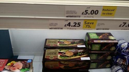 Frozen Easy Carve Duck with Cherry Glaze  1.4kg was £10 now £5 @ Tesco, Horncastle