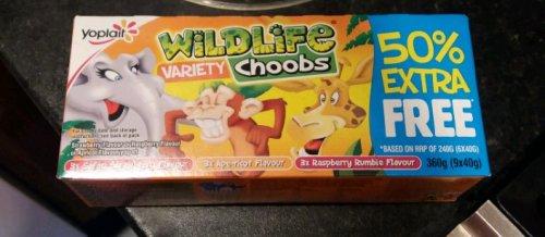 wildlife choobs , 50% extra so get 9 choobs  £1 tesco